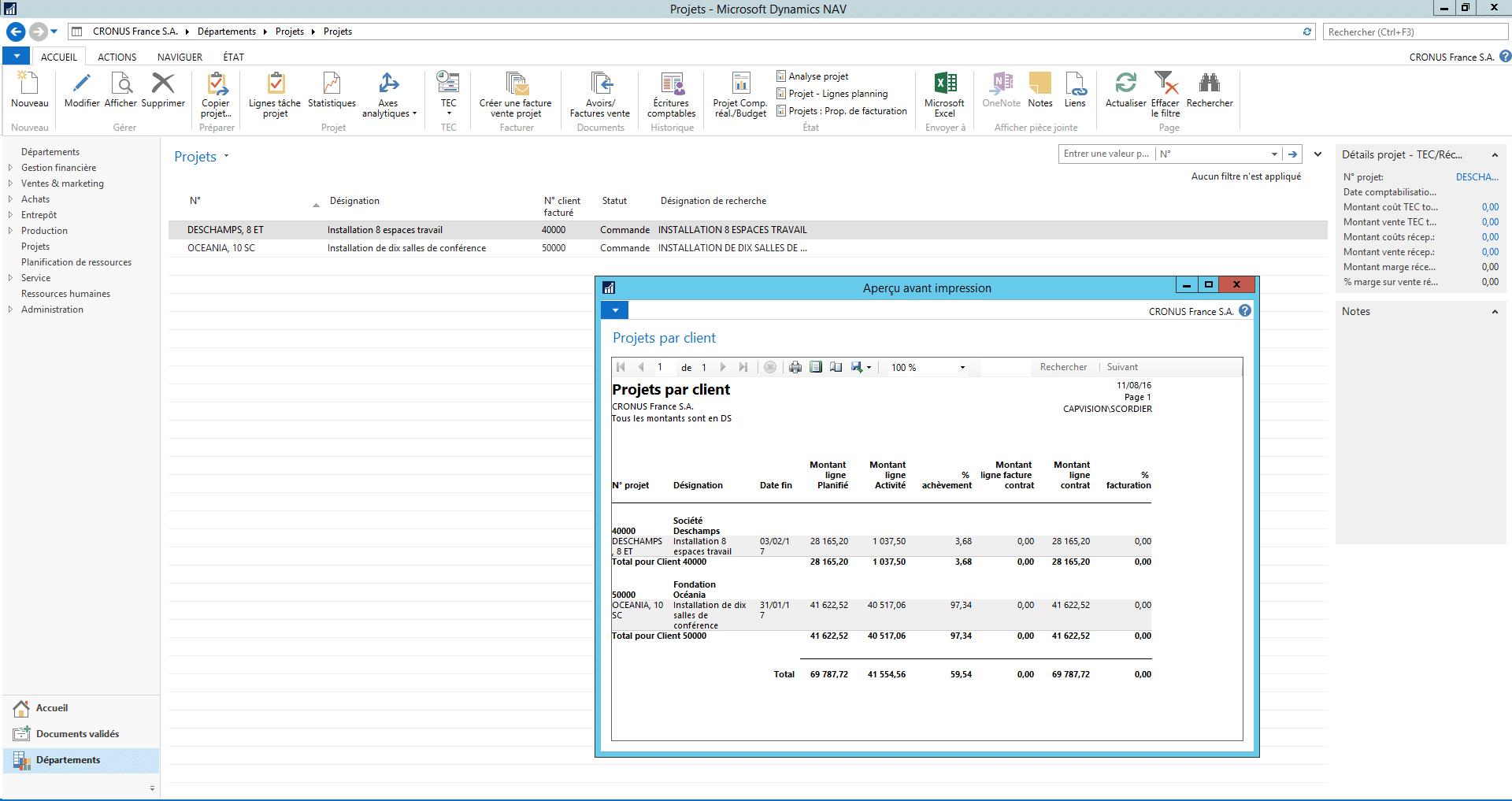 Projets par client - Microsoft Dynamics NAV 2016